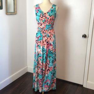 London Times Floral Knit Maxi Dress 8